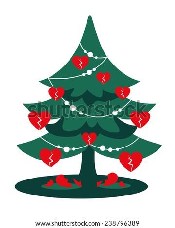 Christmas Heartbreak Green Christmas Tree Red Stock Illustration