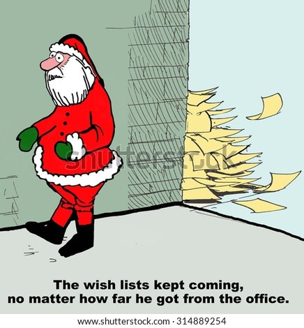 christmas holiday cartoon showing santa claus walking fast with letters following him the wish