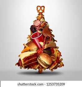 Christmas holiday eating and diet issues during winter holidays nutrition and obesity concept with 3D illustration elements.