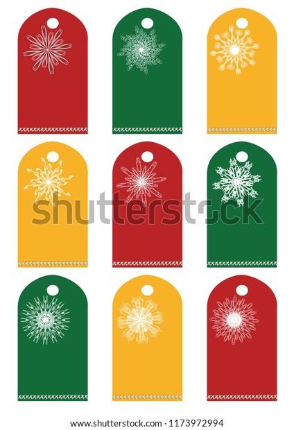 Christmas Tag Template.Christmas Holiday Gift Tag Template Stock Illustration