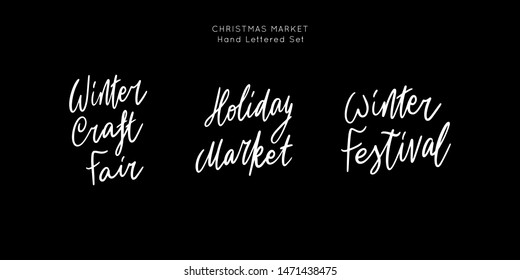 Christmas Holiday Market lettering template. Unique script saying poster. Custom typography print for t shirts,bags,posters,merch,banners. Winter Holiday season decorations.