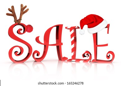 Christmas Holiday Sale. Sale in text with Reindeer , candy cane and Santa hat accents on a white background.