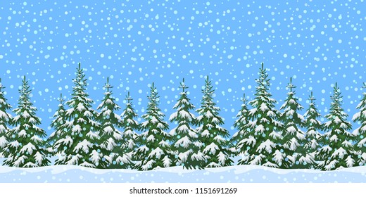 Christmas Holiday Seamless Horizontal Background, Winter Landscape, Green Fir Trees and Blue Sky with White Snow.