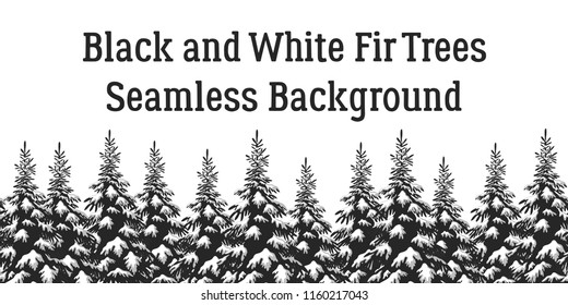 Christmas Holiday Seamless Horizontal Background, Winter Landscape, Fir Trees with Snow, Black and Grey Silhouettes Isolated on White Background.