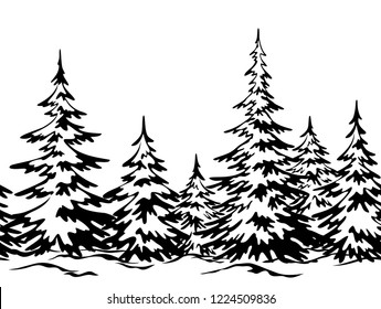 Christmas Holiday Seamless Horizontal Background, Winter Landscape, Fir Trees with Snow, Black Silhouettes Isolated on White Background.