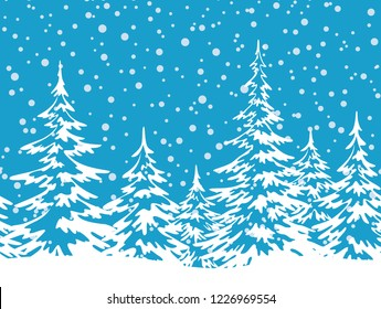 Christmas Holiday Seamless Horizontal Background, Winter Landscape, Fir Trees with Snow, White Silhouettes against the Blue Sky with Snowflakes.