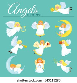christmas holiday set of flying angel with wings and gifts box or stars, moon like symbol in Christian religion new year illustration