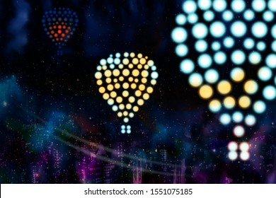 Christmas holiday travel vacation concept. Air balloon silhouettes from glowed dot lights above skyscrapers of big city at snowing night. Illustration of journey flight