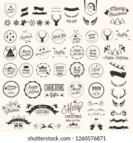 christmas holidays icons and illustrations with horn deer