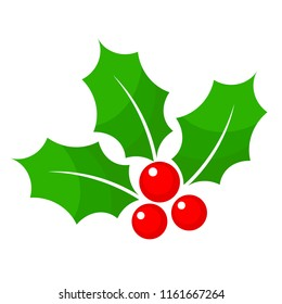 Christmas holly berry flat icon in cartoon style on white, stock illustration