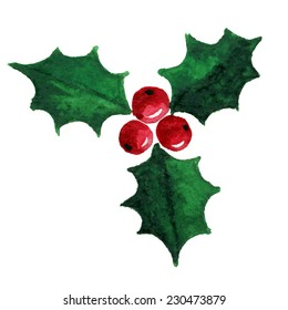 Christmas holly berry symbol. Watercolor illustration. Raster version