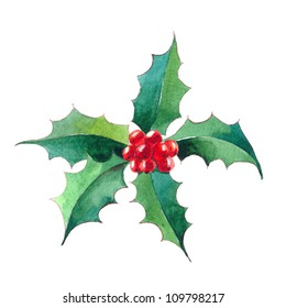 Christmas Holly berry.watercolor illustration