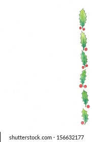 Christmas holly right-side border