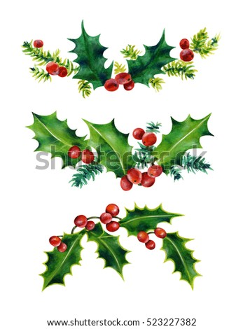 Christmas Holly Set Holly Leaves Red Stock Illustration