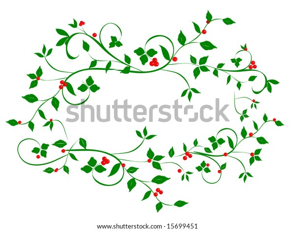 Christmas Vines.Christmas Holly Vines Abstract Heart Shape Stock
