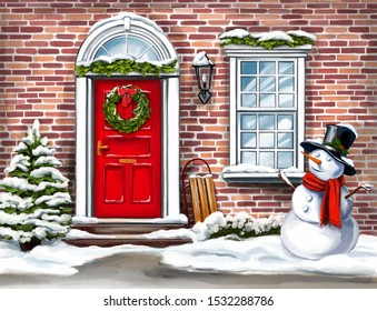 Christmas home decoration, Christmas wreath on the door in winter and snowman, Christmas greeting card, art illustration painted with watercolors