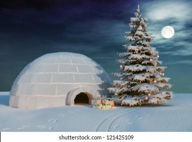 christmas igloo at the evening
