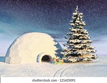 christmas igloo at the morning