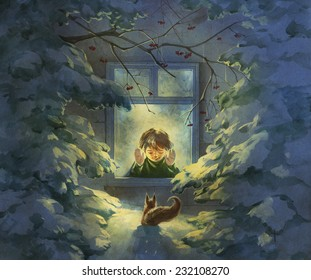 Christmas illustration with a boy looking out of window and a squirrel outside in a snowy winter forest on a Christmas night