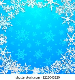 Christmas illustration with circle frame of big white snowflakes with shadows on light blue background