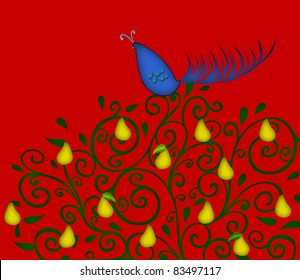 Christmas illustration of a colorful partridge in a pear tree on a red background