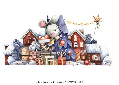 Christmas illustration with gifts, snowy houses and a mouse decorating a Christmas tree. Hand-drawn watercolor Christmas picture with a mouse decorating the Christmas tree