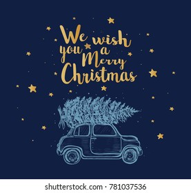 Christmas illustration of greeting card. Vintage car and Christmas tree.