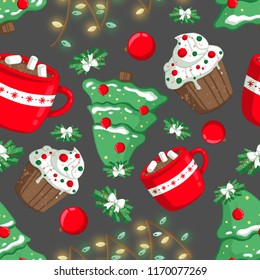 Christmas illustration pattern with decorations, cocoa, lights, capcake and Christmas tree. use for postcards, wallpapers, textiles, scrapbooking, decoration, invitations, background, holiday.