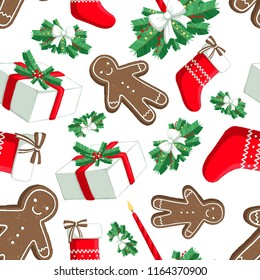 Christmas illustration pattern with decorations, sock, gifts, gingerbread man. use for postcards, wallpapers, textiles, scrapbooking, decoration, invitations, background, holiday.