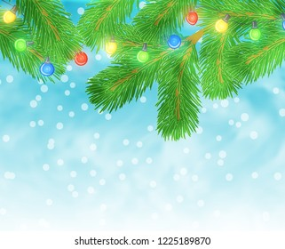 Christmas illustration with pine branch and light bulbs on blue textured background. Raster version