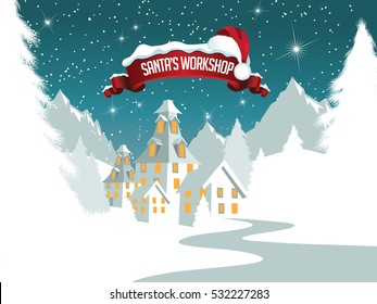 Christmas illustration of Santa Claus's workshop at the North Pole.