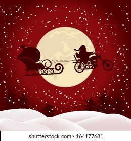 Christmas illustration of Santa on a motorcycle on background of the full moon