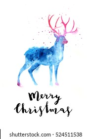 Christmas  illustration with watercolor silhouettes deer