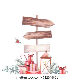 Christmas illustration. Watercolor vintage objects: gift boxes, christmas tree branch, lantern, bullfinch and wood sign. Isolated holiday icons on white background