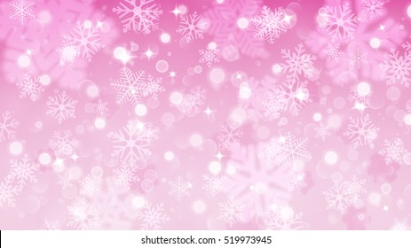Christmas illustration with white blurred and clear snowflakes on pink background