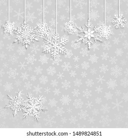 Christmas illustration with white hanging snowflakes on gray background