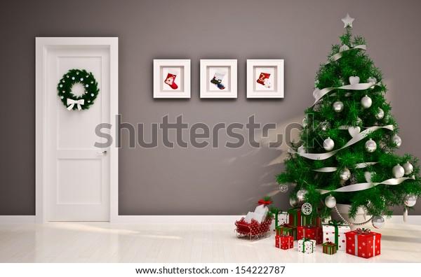 Christmas interior with door & tree