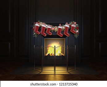 Christmas interior fireplace. Wood panel. Christmas Stocking on Fireplace
