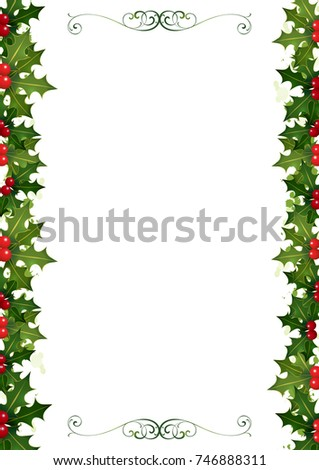 christmas invitation made holly borders two stock illustration