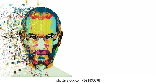 Christmas Island, Australia, August 8, 2017:: an illustration in the art style in the form of a mosaic Steve Jobs. Fragmented by pixels.