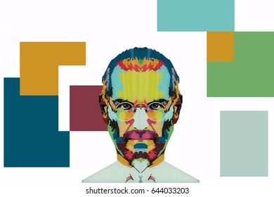 Christmas Island, Australia, May 20, 2017: an illustration in the art style in the form of a mosaic Steve Jobs - a talented person and the founder of the international corporation Apple
