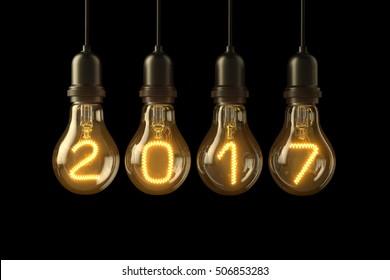 Christmas lamp light bulbs Illuminated new year 2017 on black background. 3D illustration