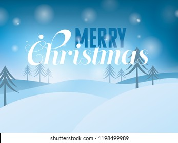 christmas landscape with greeting text