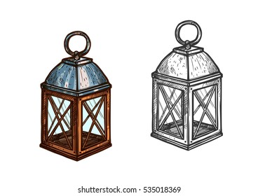 Christmas lantern. Retro candle light lantern lamp for New Year celebration. Isolated sketch icon. Vector in gallery