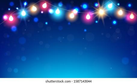 Christmas light background on night scene