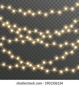 Christmas lights isolated on gray background for cards, banners, posters, web design. Set of golden xmas glowing garland Led neon lamp illustration.