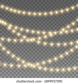 Christmas lights isolated on transparent background for cards, banners, posters, web design. Set of golden xmas glowing garland Led neon lamp illustration.