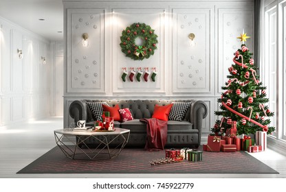 Christmas living room with a christmas tree and presents under it - modern classic style, 3D render, 3D illustration