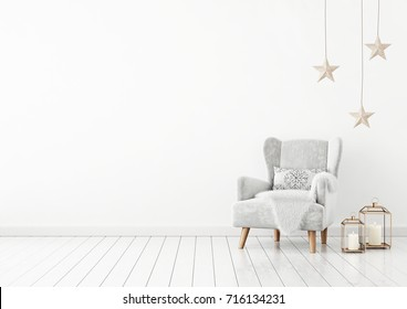 Christmas livingroom interior with velvet armchair, pillow, stars and lanterns on white wall background. 3D rendering.