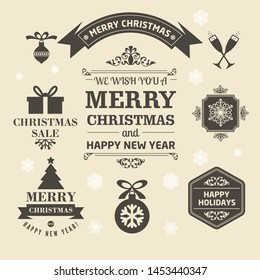 Christmas logos and medals in a retro style for Christmas